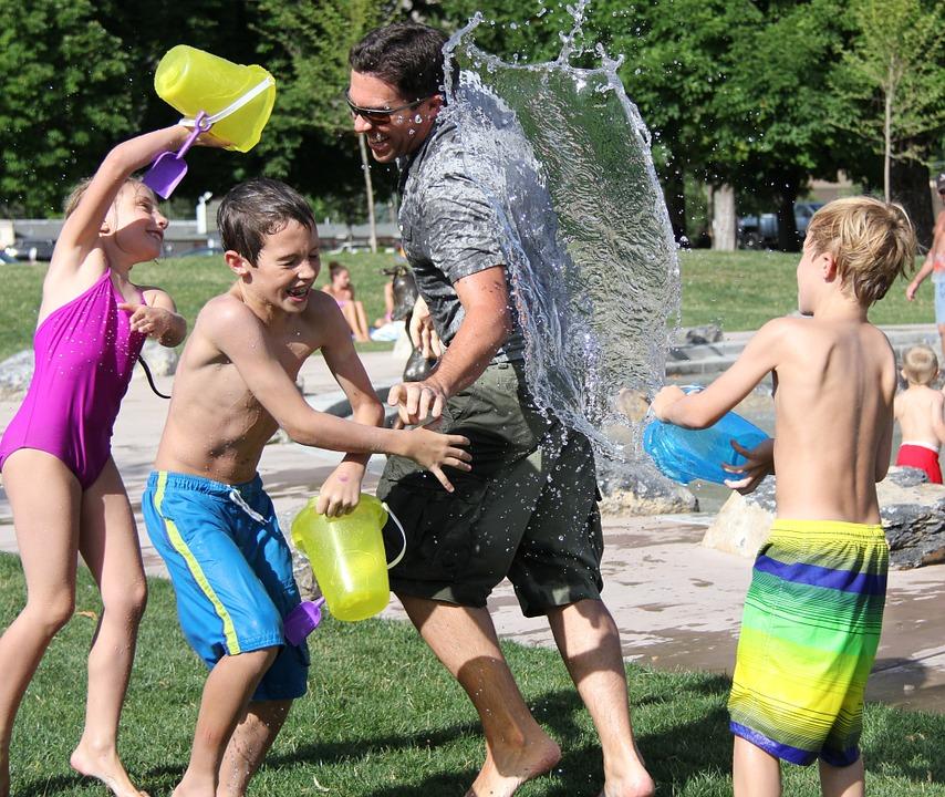 water relay race summer fun
