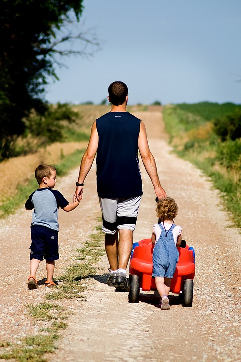 family walking dad kids bonding