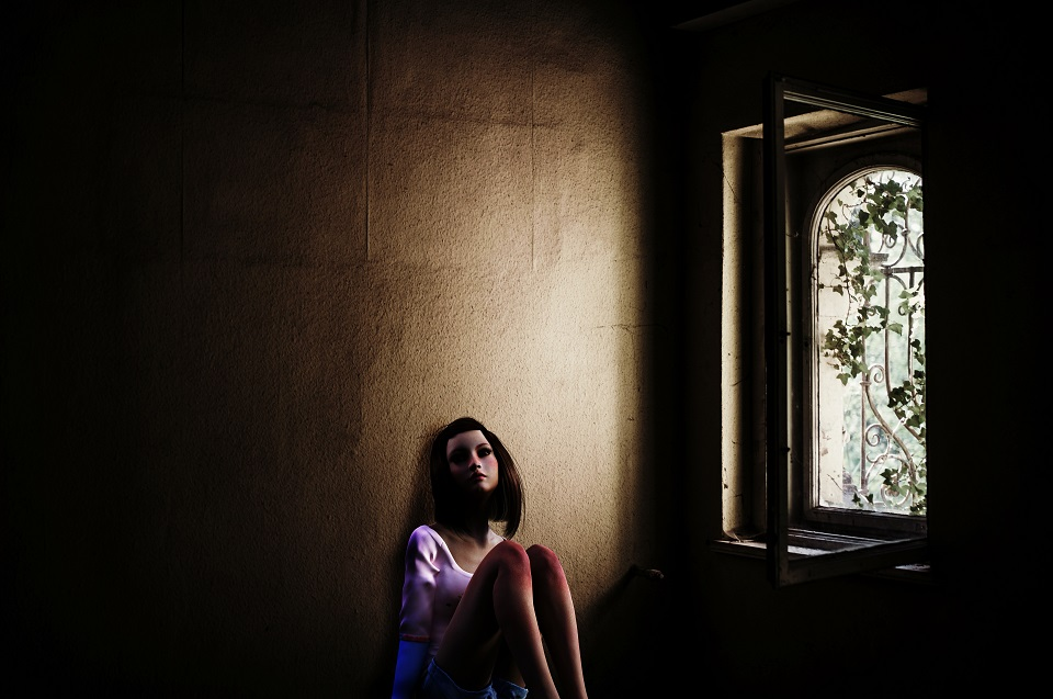 Animation of a girl in a dark room with one window. It looks like she is contemplating teenage problems
