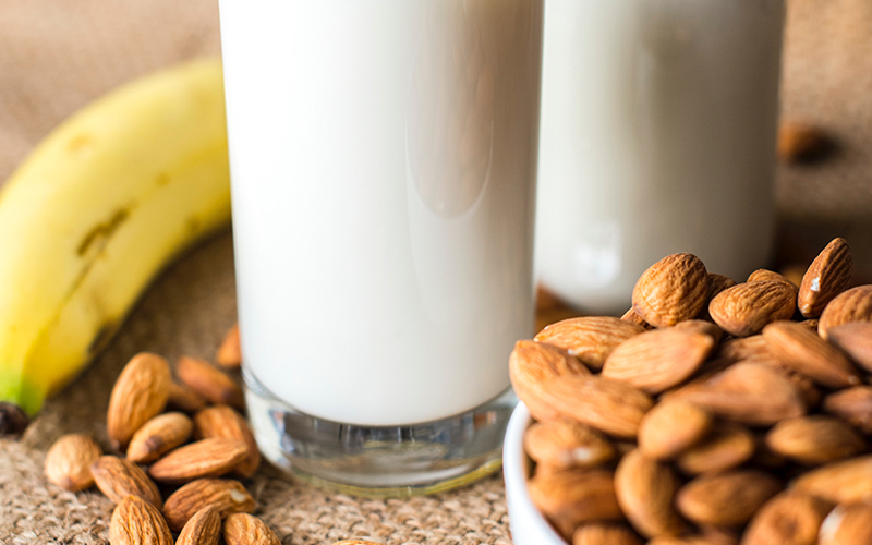 cup of milk, banana, almonds
